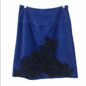 Anthropologie Blue Velvet Skirt Elevenses